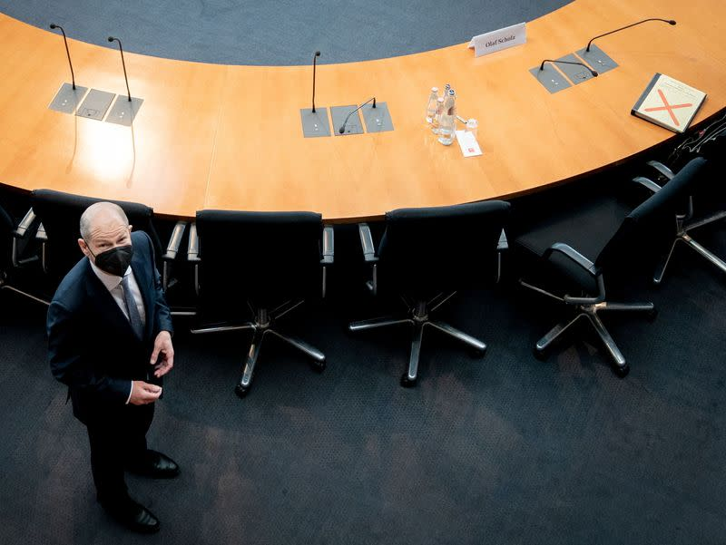 German Finance Minister Scholz testifies before a parliament committee, in Berlin