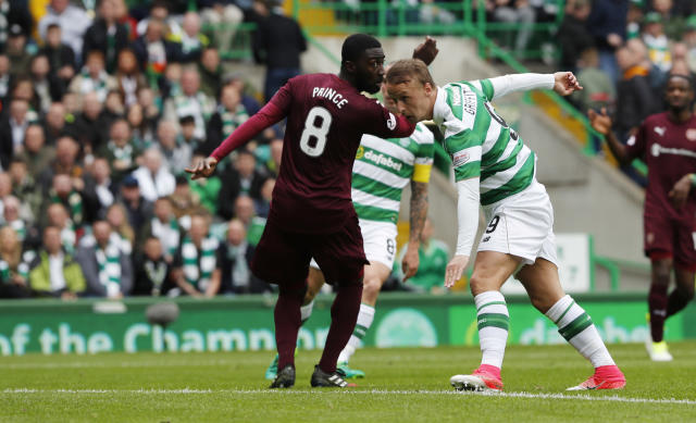 "Britain Football Soccer - Celtic v Heart of Midlothian - Scottish Premiership - Celtic Park - 21/5/17 Celtic's Leigh Griffiths scores their first goal Reuters / Russell Cheyne Livepic EDITORIAL USE ONLY. No use with unauthorized audio, video, data, fixture lists, club/league logos or ""live"" services. Online in-match use limited to 45 images, no video emulation. No use in betting, games or single club/league/player publications. Please contact your account representative for further details."