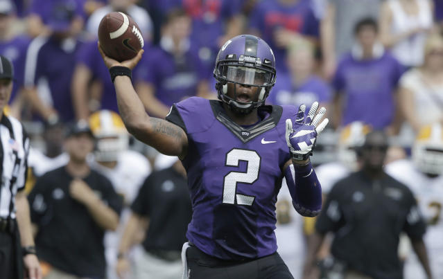 TCU quarterback Trevone Boykin (2) passes during the second half of an NCAA college football game against Southeastern Louisiana Saturday, Sept. 7, 2013, in Fort Worth, Texas. TCU won 38-17. (AP Photo/LM Otero)