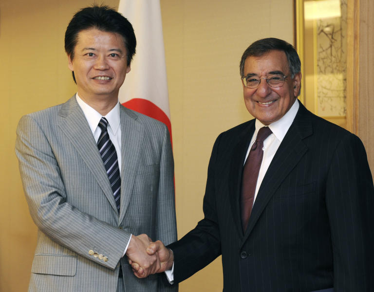 U.S. Defense Secretary Leon Panetta, right, shakes hands with Japanese Foreign Minister Koichiro Gemba at the Foreign Ministry in Tokyo on Monday, Sept. 17, 2012. (AP Photo/Kazuhiro Nogi, Pool)