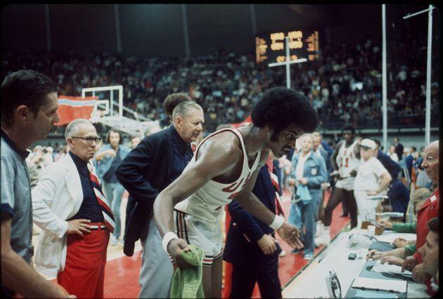 10 SEPT 1972:   The US basketball team tries to question the decision of the officials giving the gold medal to the Soviet Union in at the Olympic games in Munich, West Germany. The final score was 51-50...Photo:  © Rich Clarkson / Rich Clarkson & Assoc. (Photo: NCAA Photos via NCAA Photos via Getty Images)