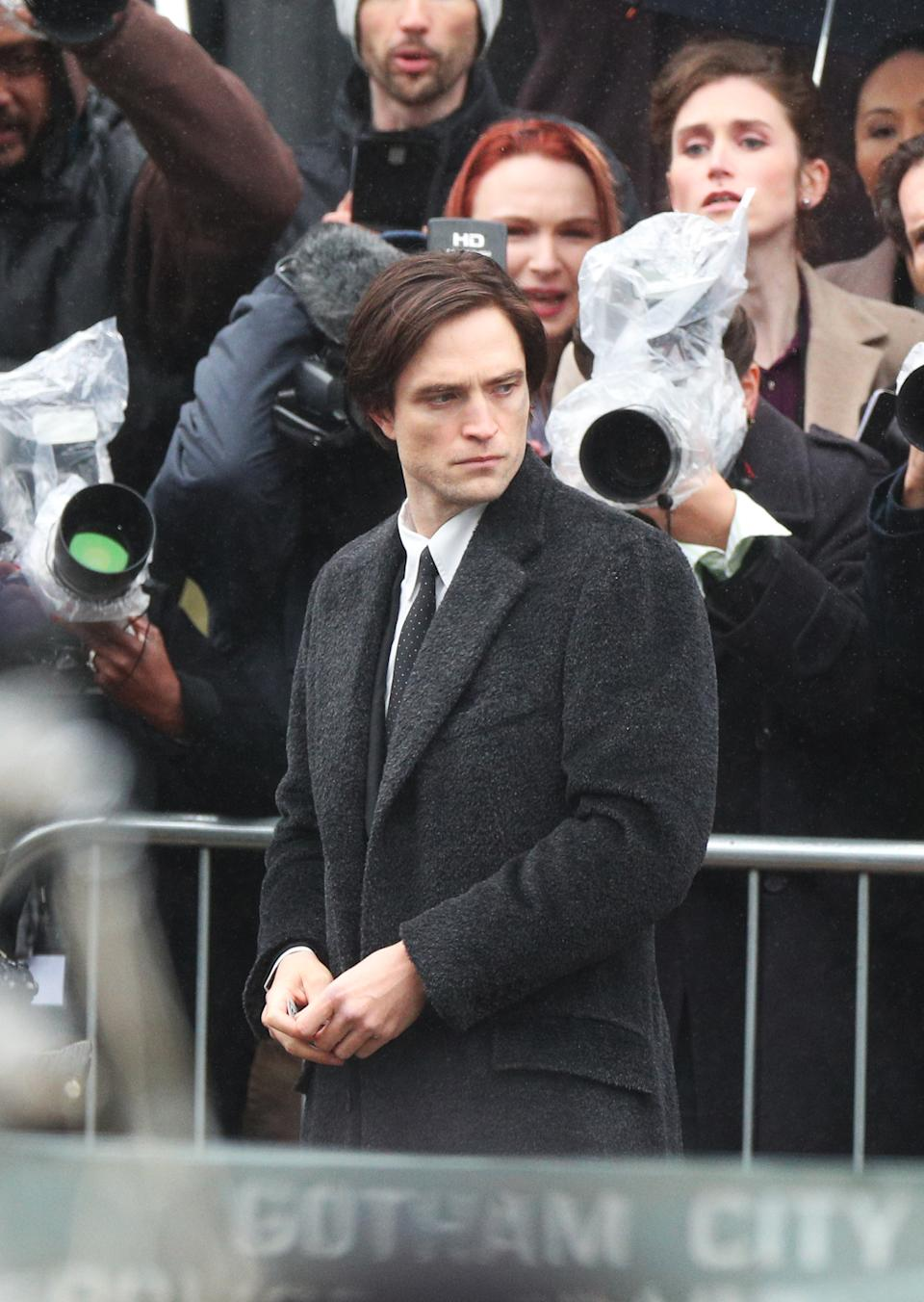Robert Pattinson during filming of The Batman outside St George's Hall in Liverpool. (Photo by Peter Byrne/PA Images via Getty Images)