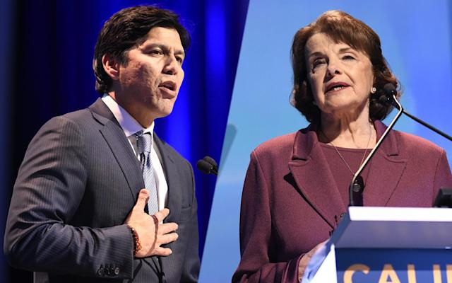 California state Sen. Kevin de León and U.S. Sen. Dianne Feinstein, both at the California Democratic Party state convention Feb. 24, 2018. (Photos: Denis Poroy/AP)