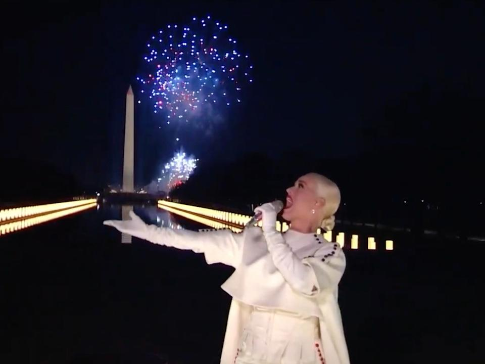 <p>Katy Perry closes inauguration concert with explosive firework display</p> (Getty Images)