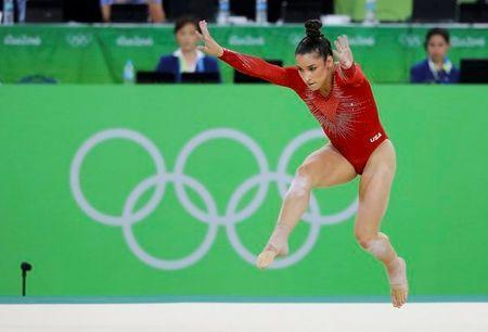 Alexandra Raisman (USA) of USA (Aly Raisman) competes on the floor during the women's individual all-around final. REUTERS/Mike Blake