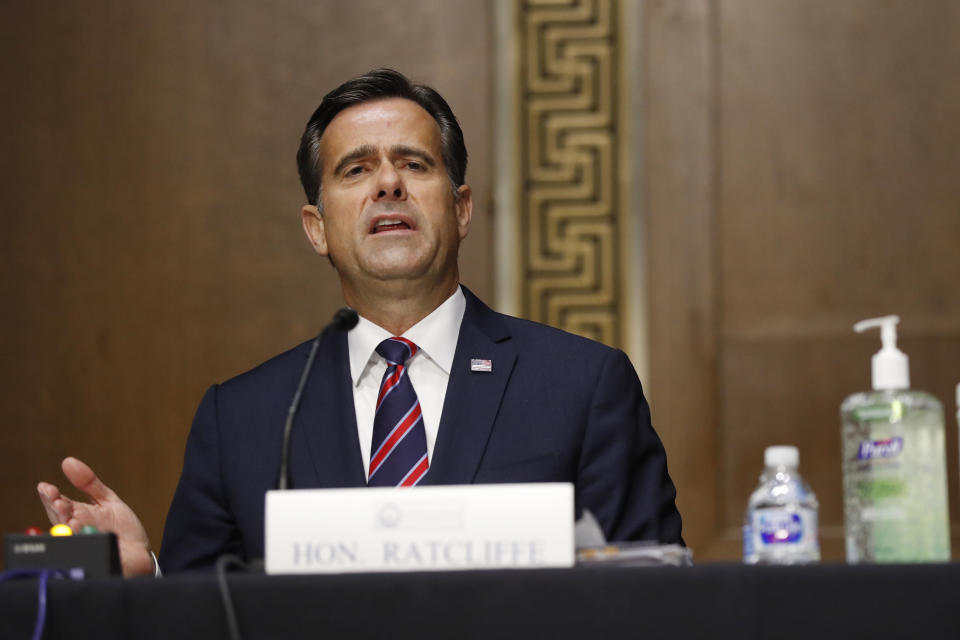 Rep. John Ratcliffe, (R-TX), testifies before a Senate Intelligence Committee nomination hearing on Capitol Hill in Washington, Tuesday, May. 5, 2020.