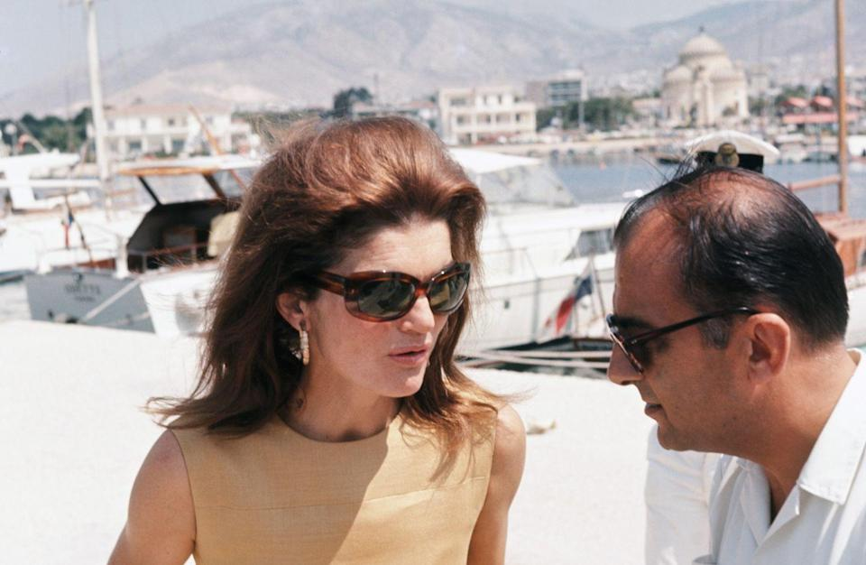 <p>Jacqueline Kennedy Onassis on vacation in Greece. </p>