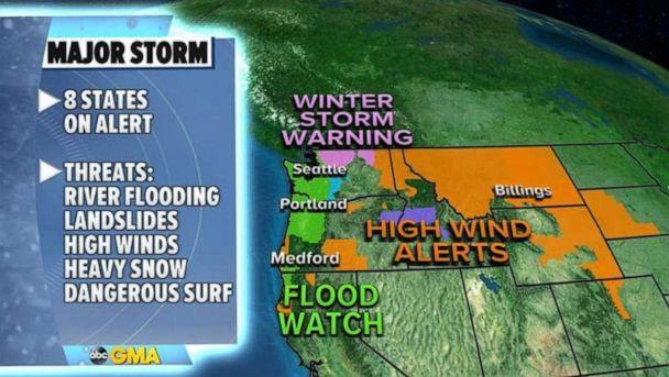 PHOTO: Because of this prolonged period of heavy rain, snow and wind, eight states are on alert in the West. (ABC News)