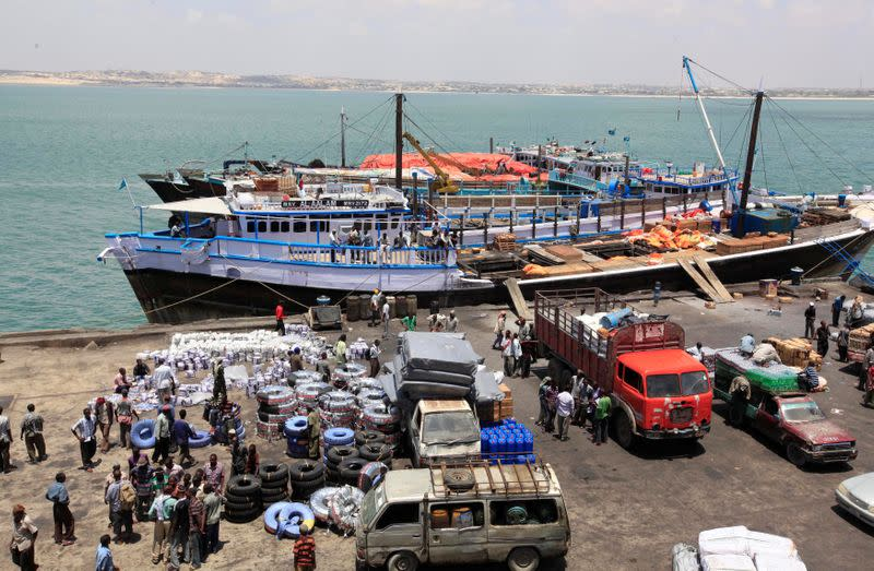 FILE PHOTO: An aerial view shows activities at the sea port in lower juba regions in Kismayu