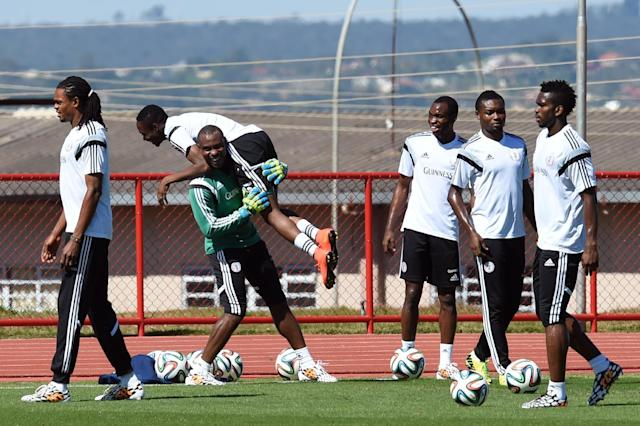 Nigeria's players, seen during a training session in Brasilia, on June 28, 2014, during the FIFA World Cup (AFP Photo/Evaristo Sa)