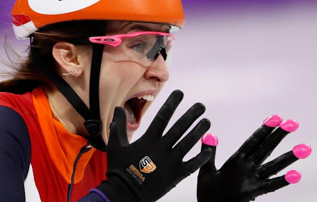 Short Track Speed Skating Events - Pyeongchang 2018 Winter Olympics - Women's 1000m Final - Gangneung Ice Arena - Gangneung, South Korea - February 22, 2018 - Suzanne Schulting of Netherlands reacts. REUTERS/Damir Sagolj TPX IMAGES OF THE DAY