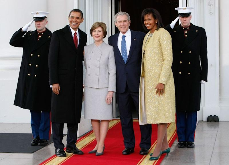Former Presidents Barack Obama and George W. Bush and former First Ladies Laura Bush and Michelle Obama