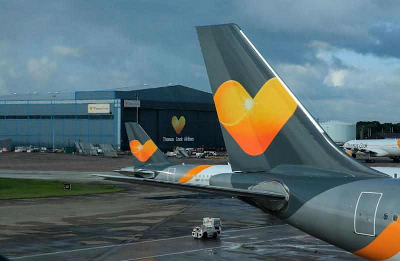 Thomas Cook planes on the runway at terminal one Manchester Airport. (Photo: PA Wire/PA Images)