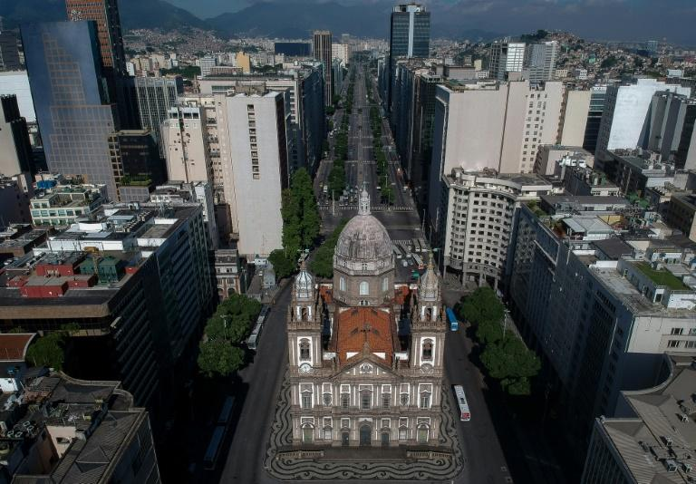 The Candelaria Church and the empty Presidente Vargas Avenue are seen in downtown Rio de Janeiro on March 25