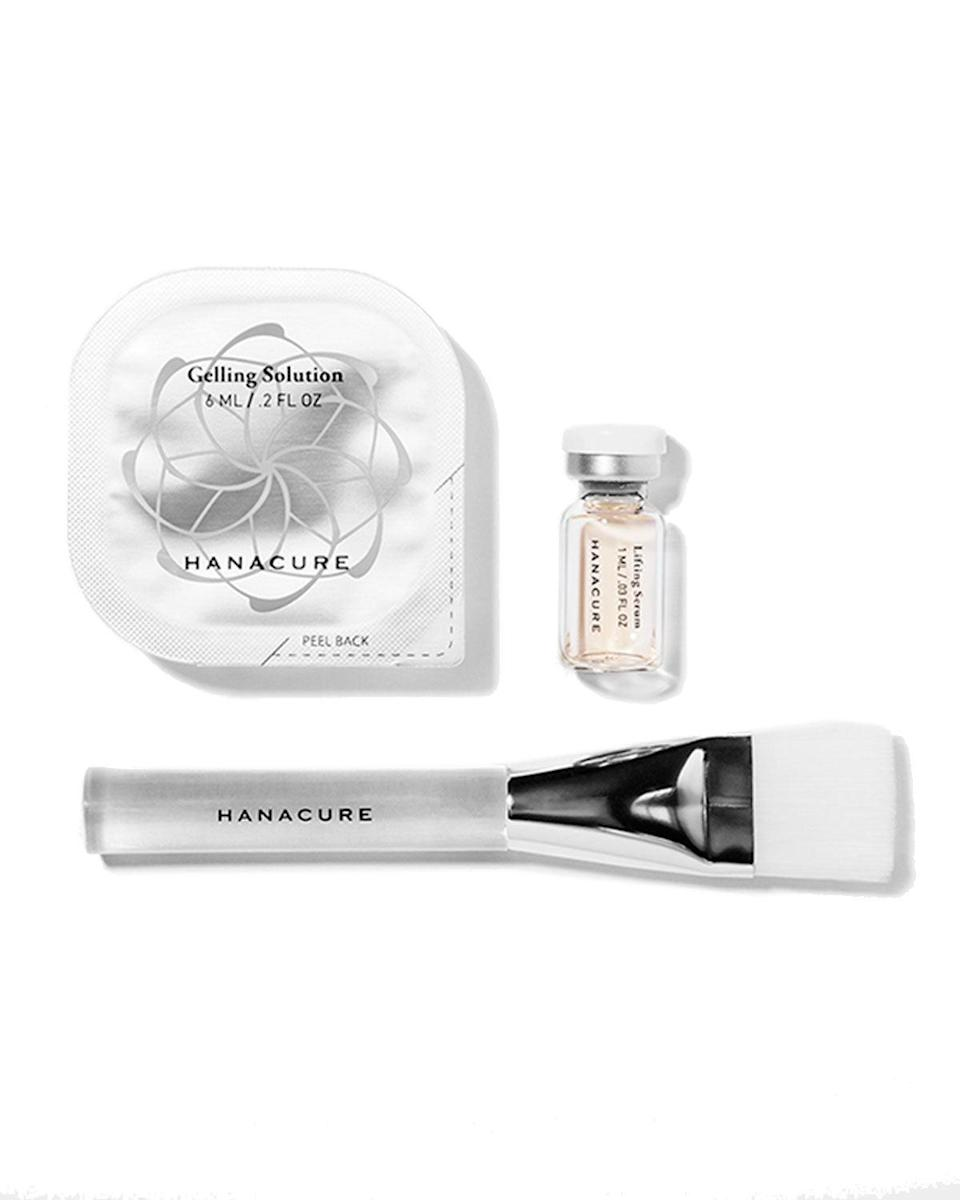 """<h3>Hanacure All-in-One Facial Starter Set</h3> <br><a href=""""https://www.refinery29.com/en-us/2017/04/149313/hanacure-mask-effect-review"""" rel=""""nofollow noopener"""" target=""""_blank"""" data-ylk=""""slk:This Hanacure face mask"""" class=""""link rapid-noclick-resp"""">This Hanacure face mask</a> is equal parts treatment and party trick. Mom will be shocked by the bizarre tightening effect while the gel mask dries, then pleasantly surprised by her taut, lifted skin afterward.<br><br><strong>Hanacure</strong> All-in-one Facial Starter Set, $, available at <a href=""""https://go.skimresources.com/?id=30283X879131&url=https%3A%2F%2Fwww.neimanmarcus.com%2Fp%2Fhanacure-all-in-one-facial-starter-set-prod215150162%3Futm_source%3Dgoogle_shopping%26adpos%3D%26scid%3Dscplpsku182110580%26sc_intid%3Dsku182110580%26ecid%3DNMCS__GooglePLA%26gclid%3DEAIaIQobChMIrb3Si5eO6QIVPyqzAB2slgjyEAYYBCABEgLDsvD_BwE%26gclsrc%3Daw.ds"""" rel=""""nofollow noopener"""" target=""""_blank"""" data-ylk=""""slk:Neiman Marcus"""" class=""""link rapid-noclick-resp"""">Neiman Marcus</a><br>"""
