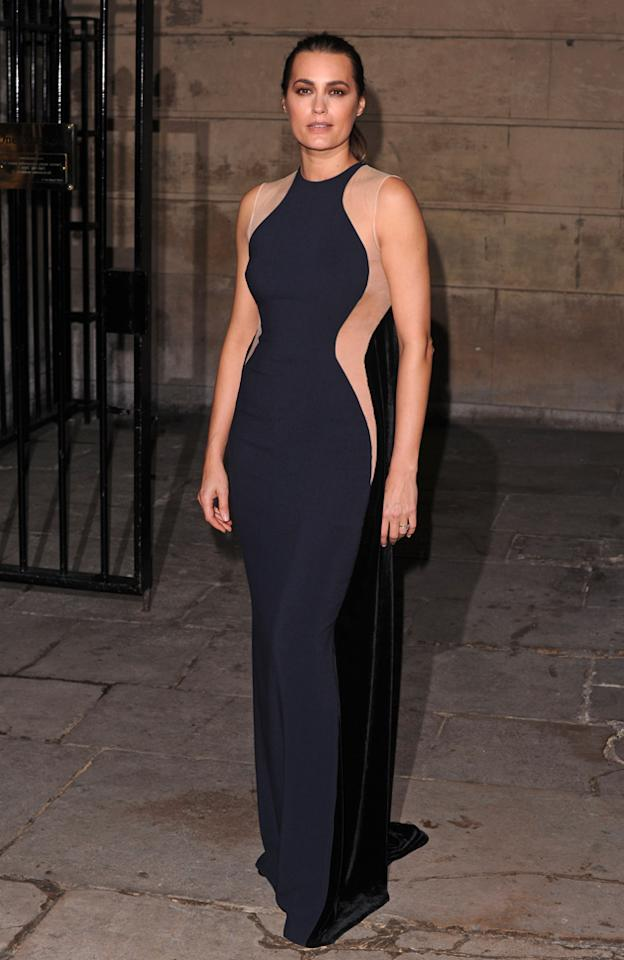 Celebrity fashion: Model Yasmin Le Bon went full the full-length version of Kate Moss' optical illusion dress. We think it's just as striking.