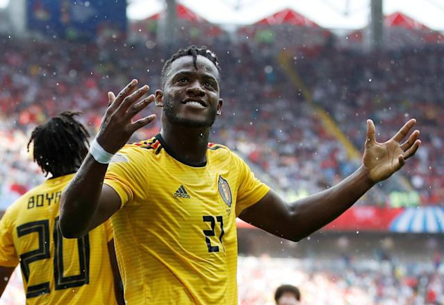 Soccer Football - World Cup - Group G - Belgium vs Tunisia - Spartak Stadium, Moscow, Russia - June 23, 2018 Belgium's Michy Batshuayi celebrates scoring their fifth goal REUTERS/Carl Recine TPX IMAGES OF THE DAY