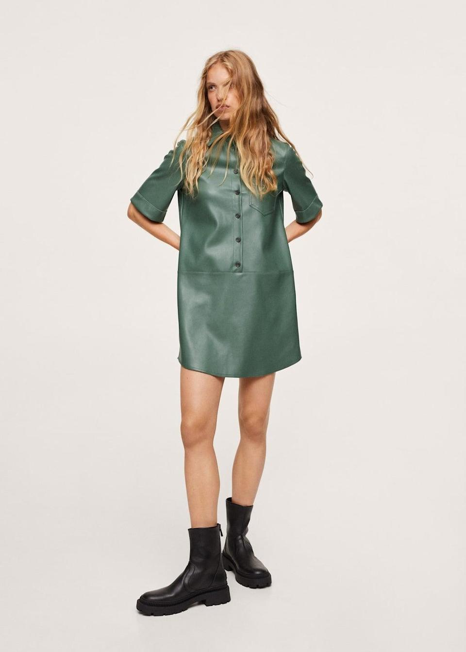 <p>Tap into the colorful leather trend with this edgy <span>Mango Faux Leather Shirt Dress</span> ($80). It's so effortlessly cool and polished, and you'll get lots of compliments on it.</p>