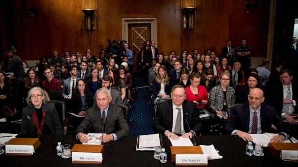 PHOTO: Anne Schuchat of the CDC, National Institute for Allergy and Infectious Diseases Director Dr. Anthony Fauci, Dr. Robert Kadlec of HHS, and FDA Commissioner Dr. Stephen Hahn appear before a Senate committee, March 3, 2020, in Washington. (Andrew Harnik/AP)