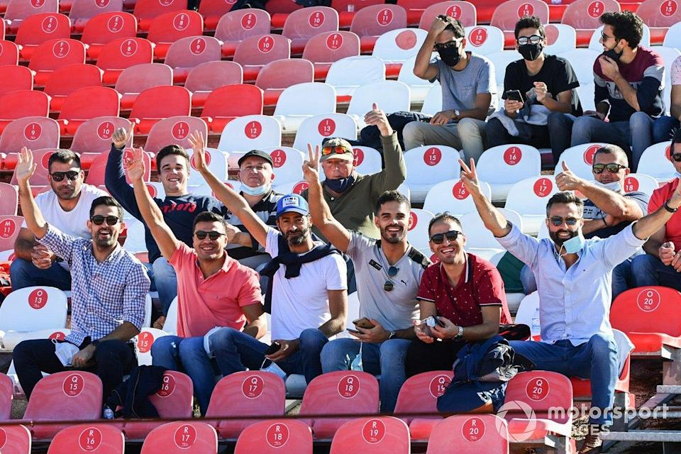 """Fans in a grandstand<span class=""""copyright"""">Mark Sutton / Motorsport Images</span>"""