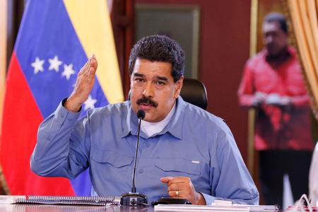 Venezuela's President Nicolas Maduro speaks during a Council of Ministers meeting at Miraflores Palace in Caracas