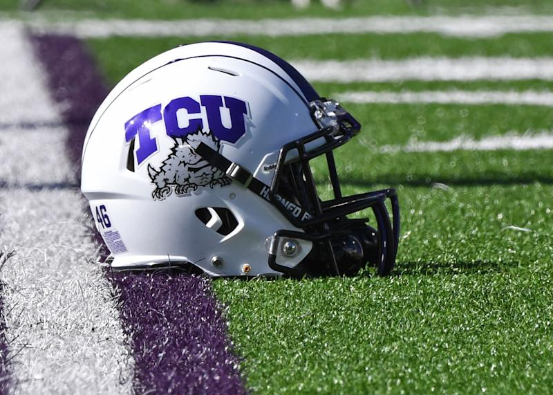 MANHATTAN, KS - OCTOBER 19: A general view of a TCU Horned Frogs helmet on the field before a game against the Kansas State Wildcats at Bill Snyder Family Football Stadium on October 19, 2019 in Manhattan, Kansas. (Photo by Peter G. Aiken/Getty Images)