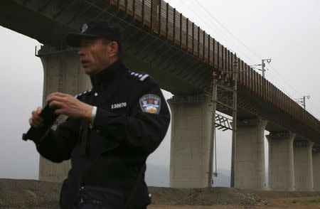A policeman stands guard under a stretch of the new high-speed rail line between Xinjiang's capital Urumqi and Turpan