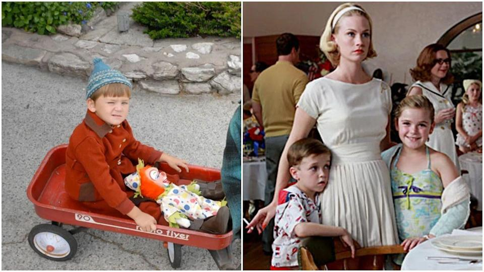 """<p>Fun fact: Like, 8,000 kids played Bobby Draper on<em> Mad Men</em>. This is literally just two of them. A ton of child actors cycled in and out of the role, include Maxwell Huckabee, Aaron Hart, Jared Gilmore, and Mason Vale Cotton—all while Kiernan Shipka managed to retain her job as Sally for the entire series. Speaking of Kiernan, she <a href=""""https://screencrush.com/mad-men-kiernan-shipka-bobby-draper/"""" rel=""""nofollow noopener"""" target=""""_blank"""" data-ylk=""""slk:says"""" class=""""link rapid-noclick-resp"""">says</a> all the Bobbys had different nicknames, like Bucket Head Bobby and Slurpee Bobby. At least they made an impression?</p>"""