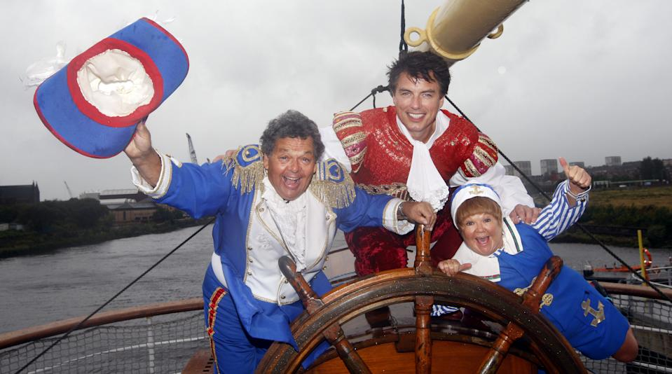 John Barrowman and the Krankies (Janette and Ian) during a photocall on The Tall Ship in Glasgow, Scotland, to promote their pantomime Robinson Crusoe and the Caribbean Pirates.   (Photo by Danny Lawson/PA Images via Getty Images)