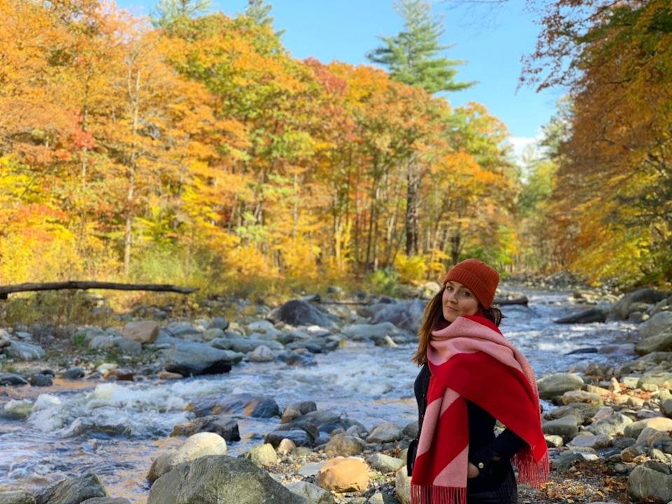 Alice Hutton pictured on the Mohawk Trail in Massachusetts, in October 2020, after arriving in the US three days before the border shut in MarchAlice Hutton