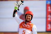<p>Austria's Marcel Hirscher won gold in the alpine skiing men's giant slalom. In addition to his prowess on the slopes, Hirshcer also sports a darn suave facial barnet. (Getty) </p>