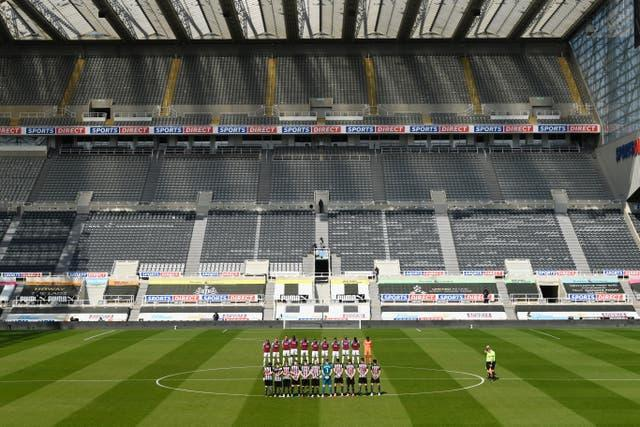 Players at the early Premier League kick off in Newcastle stood in memory of HRH the Duke of Edinburgh