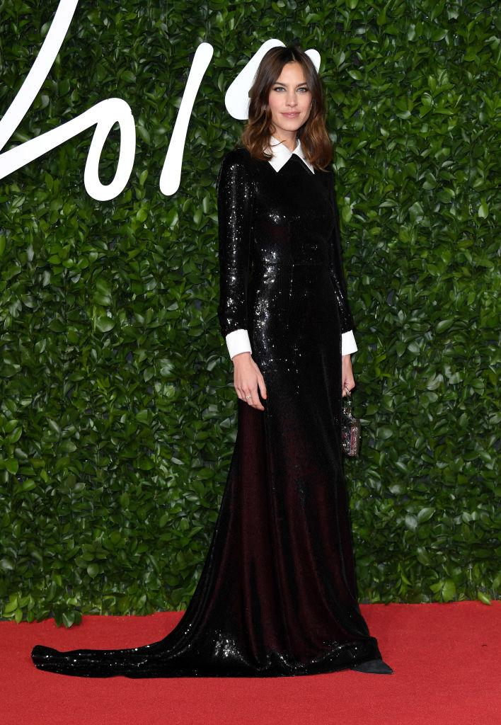 Alexa Chung opted for a simple yet chic floor length sparkly dress from Alexa Chung [Photo: Getty]