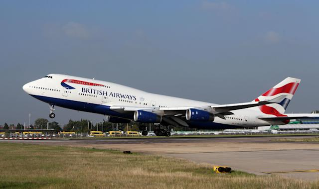 A British Airways 747 plane takes off at Heathrow Airport. (PA)