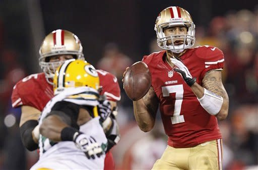 San Francisco 49ers quarterback Colin Kaepernick (7) passes against the Green Bay Packers during the second quarter of an NFC divisional playoff NFL football game in San Francisco, Saturday, Jan. 12, 2013. (AP Photo/Tony Avelar)