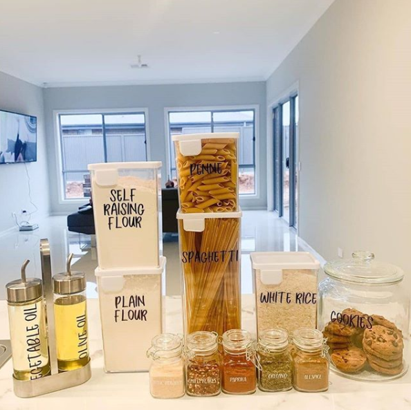 A customer showed how they put The Reject Shop's storage range to good use in their pantry. Photo: Instagram/@sandjfirsthome.