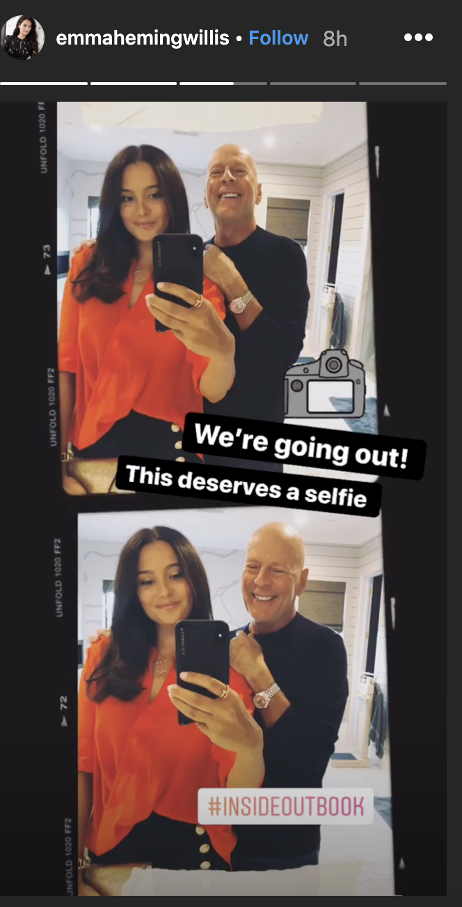 Bruce Willis and his wife, Emma Heming Willis, attended Moore's book party on Monday. (Screenshot: Emma Heming Willis)