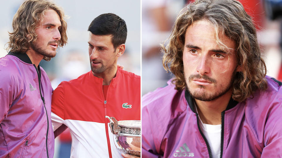 Stefanos Tsitsipas, pictured here with Novak Djokovic after the French Open final.
