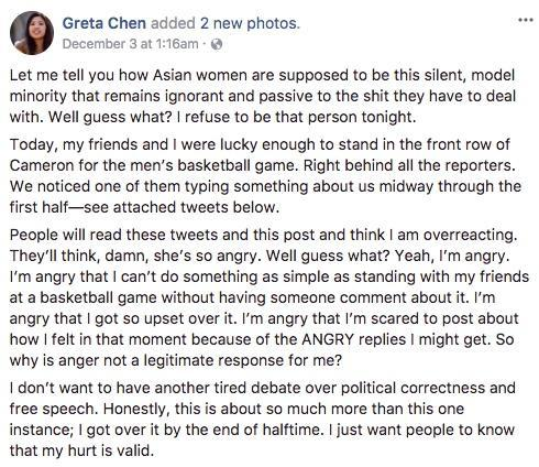 Greta Chen's Facebook post.