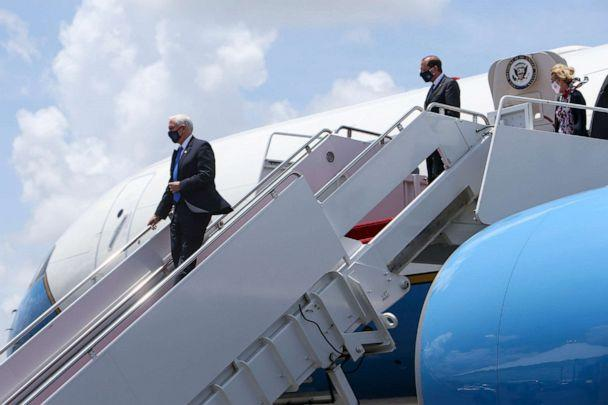 PHOTO: Vice President Mike Pence arrives at Tampa International Airport, July 2, 2020, in Tampa. The Vice President met with Florida Governor Ron DeSantis regarding the efforts the state is making to combat COVID-19. (Ivy Ceballo/Tampa Bay Times via AP)