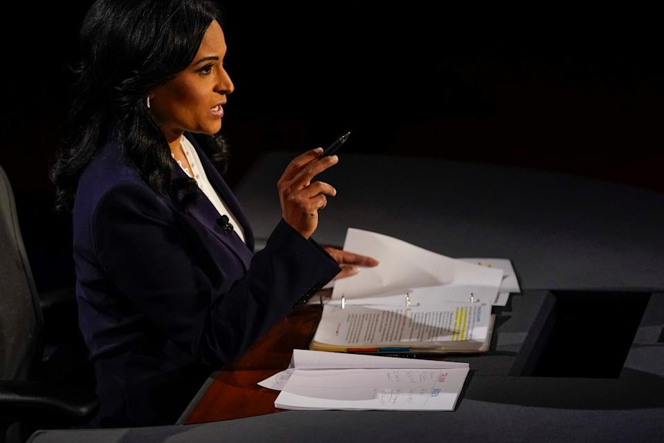 Moderator Kristen Welker of NBC News asks a question during the second and final presidential debate at the Curb Event Center at Belmont University in Nashville, Tennessee, U.S., October 22, 2020. (Morry Gash/Pool via Reuters)