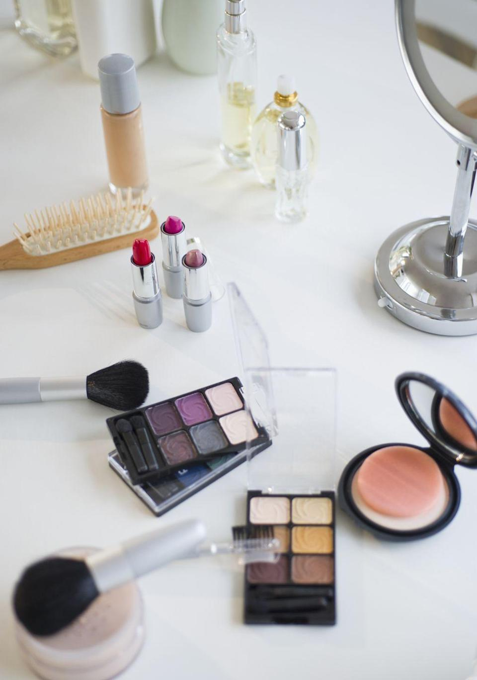 """<p>Concealers and liquid foundation <a href=""""http://www.goodhousekeeping.com/beauty/makeup/tips/a17714/expired-beauty-products/"""" rel=""""nofollow noopener"""" target=""""_blank"""" data-ylk=""""slk:can last"""" class=""""link rapid-noclick-resp"""">can last</a> for six months. After that you risk bacteria growing in the vile (yum!) while mascara should be chucked after three months. The good news is that your favorite lipstick and gloss can keep for two years.</p>"""