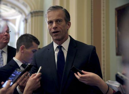 Senator John Thune (R-SD) speaks to reporters after a news conference on Capitol Hill in Washington March 8, 2016.      REUTERS/Joshua Roberts