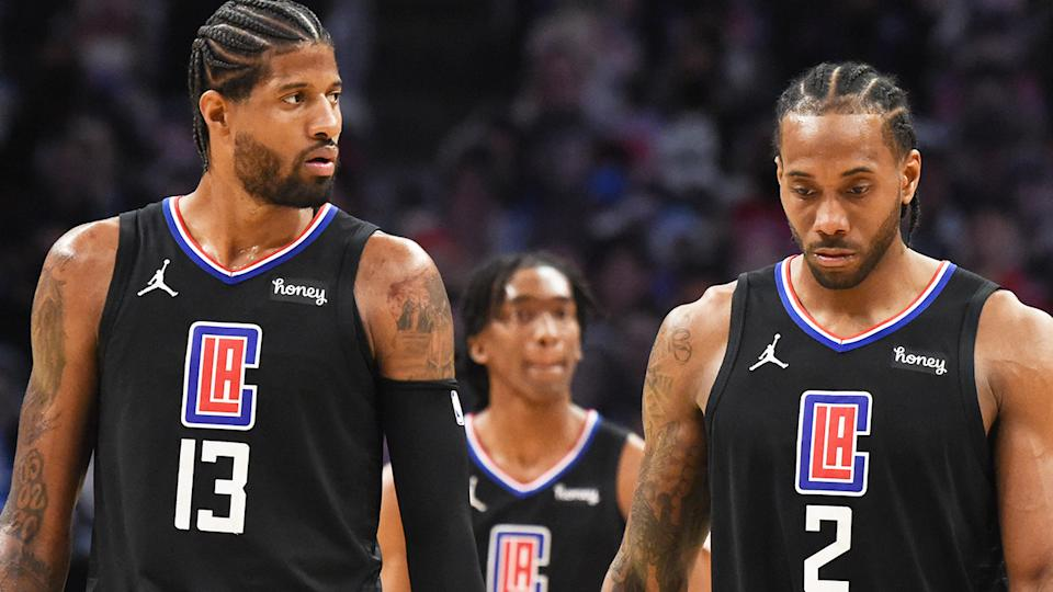 Clippers stars Paul George and Kawhi Leonard played well, but their efforts weren't enough to prevent the Dallas Mavericks from winning the first two games of their playoff series on the road. (Photo by Juan Ocampo/NBAE via Getty Images)