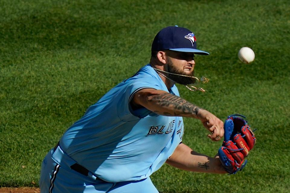 Blue Jays right-hander Alek Manoah delivers a pitch during his major league debut against the New York Yankees on Thursday.