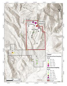 Eliza silver complex, Hamilton, Nevada, included previously reported surface samples.  (See September 9, 2021 News Release for comprehensive sampling data).