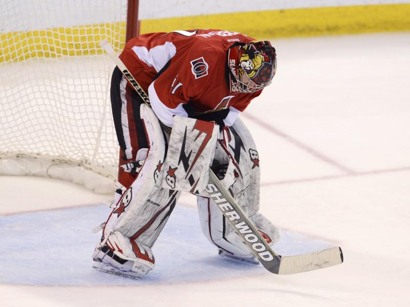Ottawa Senators goalie Craig Anderson stands alone in his crease after allowing the Pittsburgh Penguins' fifth goal during third -period NHL hockey playoff game action in Ottawa, Ontario, Wednesday, May 22, 2013. (AP Photo/The Canadian Press, Adrian Wyld)
