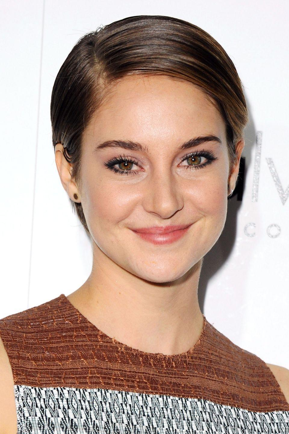 <p>Actress Shailene Woodley nails red carpet poise with this sleek parted style. </p>