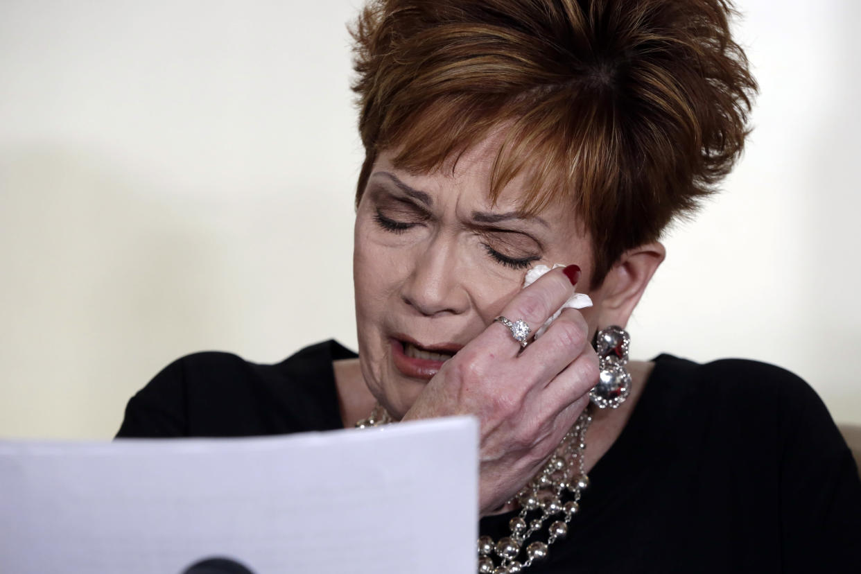 Beverly Young Nelson, an accuser of Alabama Republican Roy Moore, reads her statement at a news conference in New York on Nov. 13, 2017. Nelson says she was a 16-year-old high school student working at a restaurant when Moore, a regular, groped and touched her in his car. (Photo: Richard Drew/AP)