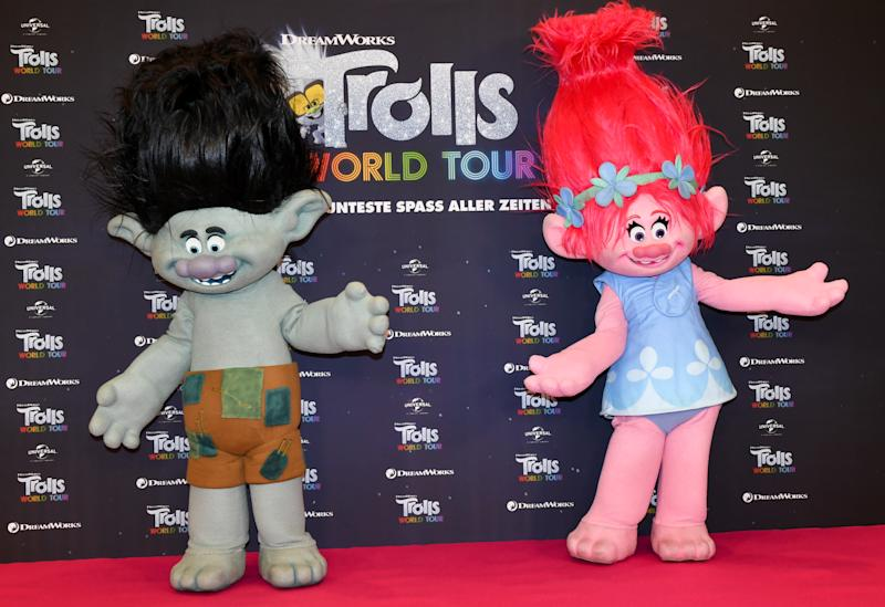 "17 February 2020, Berlin: The Trolls figures Branch (l) and Poppy at the photo session for the movie ""Trolls World Tour"" at the Hotel Waldorf Astoria. Photo: Jens Kalaene/dpa-Zentralbild/dpa (Photo by Jens Kalaene/picture alliance via Getty Images)"